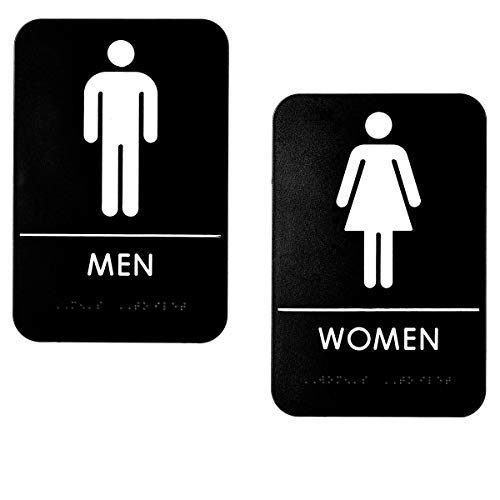 Alpine Industries Men's & Women's Restroom Signs, Set of 2 - Durable Vertical Self Adhesive Back & White Bathroom Door Sign/Placard w/ Braille Lettering For Business Office & Restaurant