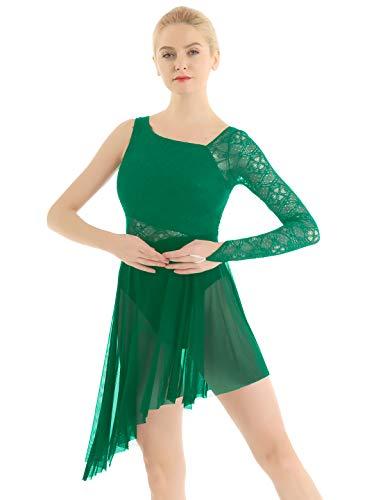 iEFiEL Damen Ballettkleid Ballettanzug Spitzen Turnanzug mit Asymmetrisch Rock Swing Kleid Ballett Trikot Latein Tanzkleid XS-XL Dunkel Grün S
