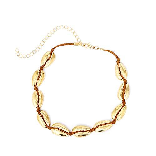 msyou Shell collar mujeres colgantes hechos a mano Shell Shell collar estilo Simple collar ras de cuello para de grandes regalos 28+10cm dorado