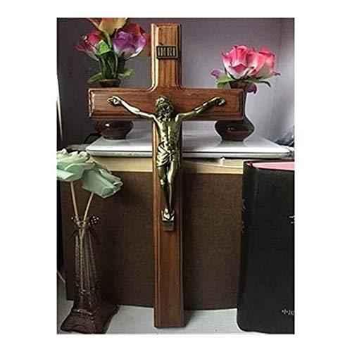 40 * 20cm Colgar de la Pared de Madera Final de Plata Cruz de Bronce crucifijo Jesucristo Antiguo Jesús en la Cruz Capilla de Casa Decor Regalo (Color : Brown, Cross Size : 40 x 20 x 2.5 CM)