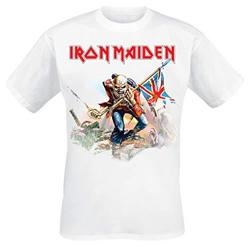 Iron Maiden Trooper On White Hombre Camiseta Blanco S, 100% algodón, Regular