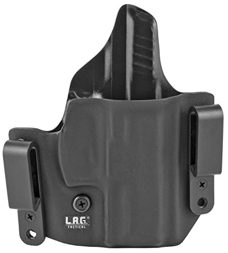L.A.G. TACTICAL, INC Defender Series, OWB/IWB Holster, Fits H&K VP9SK, Kydex, Right Hand, Black Finish, One Size