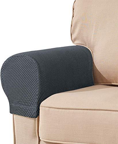 XHNXHN Fundas para reposabrazos de tela elástica de elastano, protector de muebles de poliéster, antimanchas, lavable, para sofá, funda (gris, juego de 4)