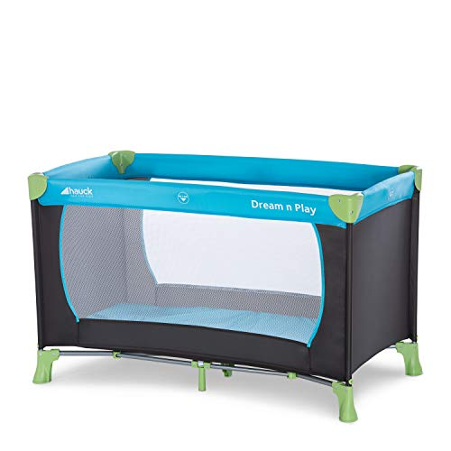 Hauck Dream'n Play, Travel Cot 120 x 60 cm from Birth to 15 kg, 3-Part Travel Bed with Folding Mattress and Carry Bag, Tilt-Resistant, Waterblue