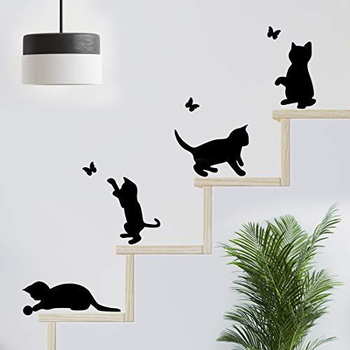 Divertidos gatos saltando pared pegatinas de salto sala de estar gato pegatina decoración papel pintado arte interruptor calcomanía de vinilo negro mariposa decoración cocina hogar niño dormitorio
