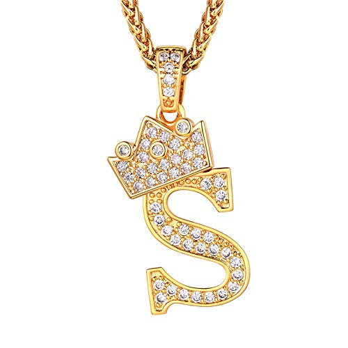 Initial Necklace For Women, Iced Out Crown Capital S Pendant & Resizable Wheat Chain(55CM+5CM), 18K Gold Plated Full Cubic Zirconia Alphabet Jewellery Bling Bling 26 Letter Necklace (Gift Packaging)