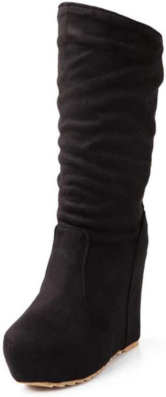Women Super High Platform Wedges Height Boot Short Plush Winter Warm Female shoes Lady Mid Calf Boots