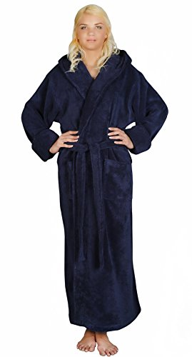 Arus Women's Full Length Long Hooded Soft Twist Turkish Cotton Bathrobe Navy Blue Large