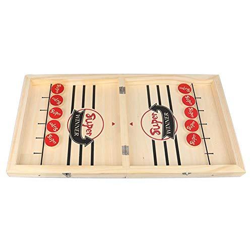 Dehongwang Juego rápido de disco de cabestrillo, juegos de mesa 2 en 1, juegos de mesa de ajedrez portátil de gran tamaño de madera futbolín, juego de mesa para niños y adultos