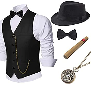 BABEYOND 1920s Mens Gatsby Gangster Vest Costume Accessories Set Manhattan Fedora Hat Bowtie Plastic Cigar Vintage Pocket Watch  Black Large