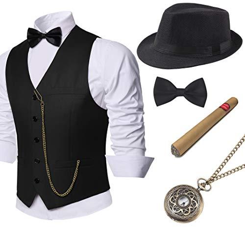 BABEYOND 1920s Mens Gatsby Gangster Vest Costume Accessories Set Manhattan Fedora Hat...