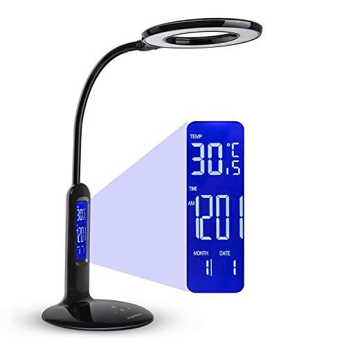 Aigostar Flexo 10KZO - Lámpara de escritorio LED 7W, Pantalla LCD con calendario, temperatura, alarma. táctil, 360lm. 5 Niveles de intensidad, 2 modos de iluminación luz blanca y cálida. Color negro