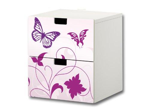 Stikkipix Butterfly Möbelsticker/Aufkleber - S2K04 - passend für die Kinderzimmer Kommode mit 2 Fächern/Schubladen STUVA von IKEA - Bestehend aus 2 passgenauen Möbelfolien (Möbel Nicht inklusive)