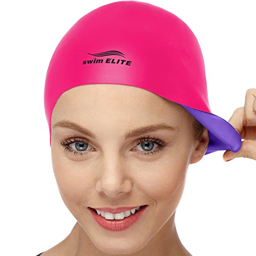 2-in-1 Premium Silicone Swim Cap - Reversible - Wear It On Both Sides - Wrinkle-Free Swimming Cap...