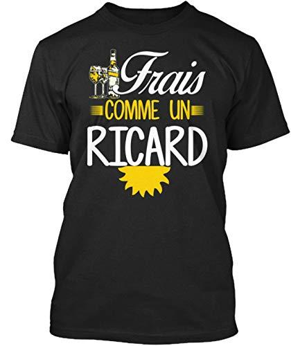 Frais comme Un Ricard T-Shirt Élégant Men's Fashion Crew Neck Short Sleeves Cotton Tops Clothing, Black