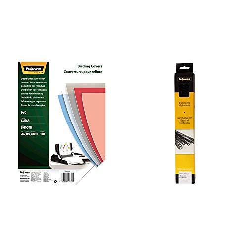 Fellowes Portadas para encuadernar de PVC transparente, formato A4, 180 micras, pack de 100 + 6004301-25 espirales metálicas para encuadernar, paso 5:1, 59 agujeros, 16 mm, color negro
