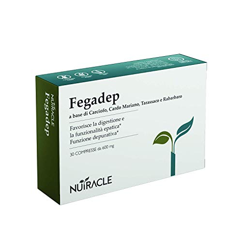 NUTRACLE FEGADEP 30 compresse 600 mg | Per purificare e disintossicare il fegato e le vie biliari | Azione diuretica ed epatoprotettiva | A base di Carciofo, Cardo Mariano, Tarassaco e Rabarbaro