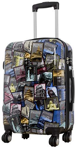 Trendyshop365 Bunte Trolley Hartschale Handgepäck 57 Zentimeter - Bedruckt Design Weltreise Rio Athen Paris