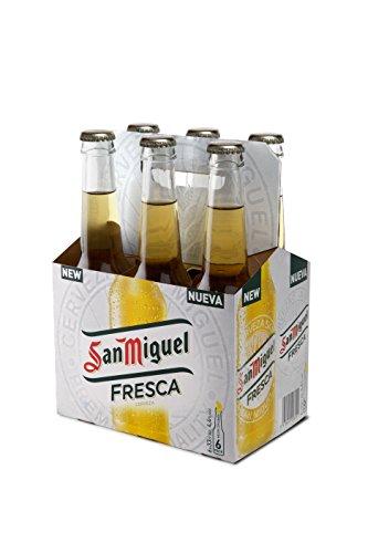 San Miguel Fresca Cerveza Dorada Lager - Pack de 6 Botellas x 33 cl, 4,4% de Volumen de Alcohol