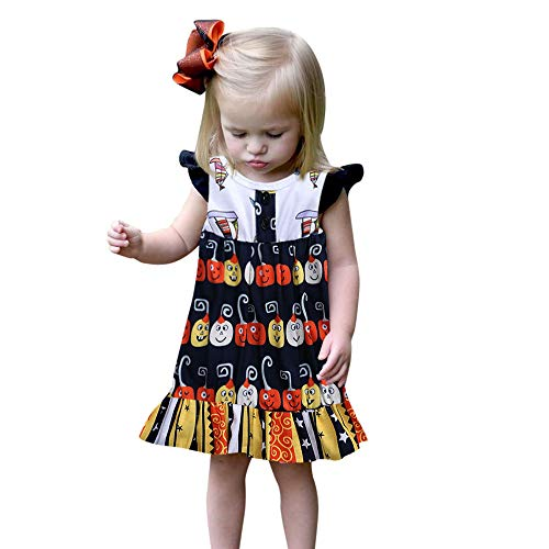 Eternali Halloween Kürbis Gedruckt Prinzessin Kleid Kleinkind Infant Baby Neugeborene Mädchen Ärmellose Rüschen Kleider Partykleid Abschlussball Outfits