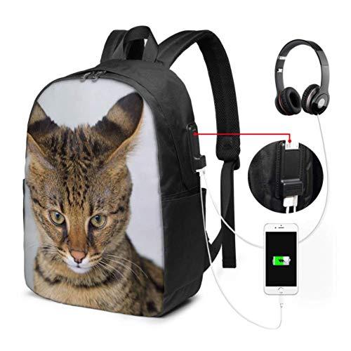Mochila Moderna para portátil Savannah Cat Closeup Feline Hybrid Serval Bolsa doméstica para la Escuela con Puerto de Carga USB y Puerto para Auriculares para la Universidad, Trabajo y Viajes