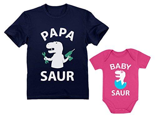 Papa Saur T-Rex Pai e Bebê Saur Papai e Me Conjunto Combinando Pai e Filho Filha, Papa Navy / Baby Wow Pink, Papa Small / baby 12M (6-12M)