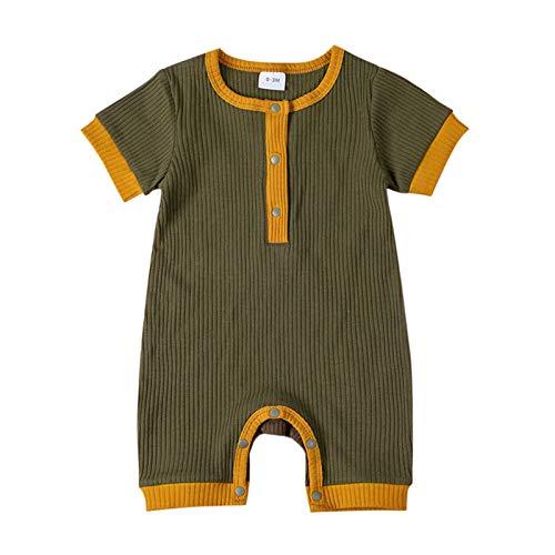 Mono de algodón para bebé recién nacido, para verano, sin mangas, cómodo, de algodón, para exterior, de moda, cuello redondo, 1 pieza verde militar 3-6 Meses