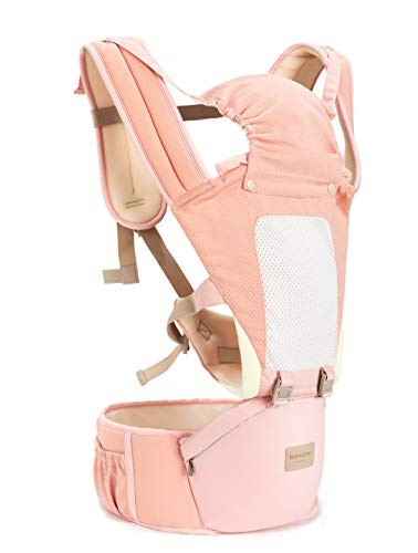 Insular Baby Carrier with Hip Seat, 3-in-1 Convertible Carrier, 360 Ergonomic Baby Carrier Backpack, Cotton Material for Four Seasons, Travelling Baby Wrap Carrier (Pink)