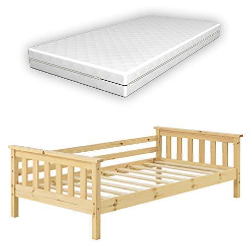 [en.casa] Kinderbett Nuuk mit Komfort-Matratze 80x160 cm Jugendbett mit Stauraum und Lattenrost Kojenbett Kiefernholz Sperrholz Holzfarben