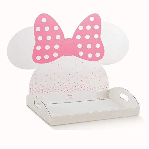 Formoso Vassoio Porta bomboniere Bianco e Rosa Sagoma Testa Minnie Rosa Disney 43,5x29xh4,5cm Art 68072