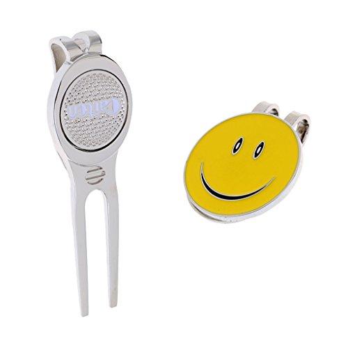 T TOOYFUL Golf Hut Clip Ball Marker + Golf Divot Tool Für Männer Frauen Golfer Trainingshilfe Zubehör