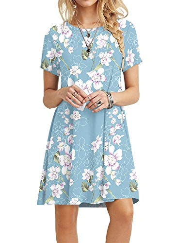 POPYOUNG Women's Summer Casual Tshirt Dresses Large, Floral Light Blue