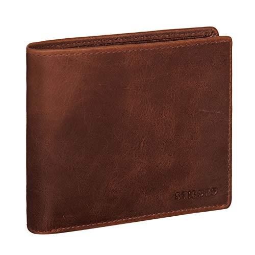 STILORD 'Lewis' Leder Portemonnaie Herren RFID Schutz Geldbörse für Männer viele Karten Fächern Brieftasche im Querformat mit Geschenkbox, Farbe:Prestige - braun