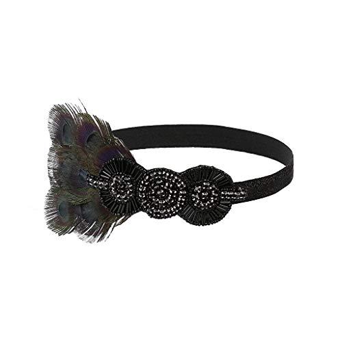 carol -1 Damen Retro Stirnband Great Gatsby Kostüm Accessoires Charleston Haarband Fasching Kostüm Accessoires 1920s Stirnband Flapper Stirnband 20er Jahre Stil Haarband Gatsby Accessoires