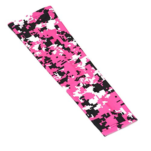 OOIN Football Baseball Camo Compression Arm Sleeve Youth Adult Sizes for Basketball Cycling Tennis (1 Sleeve) (Pink/Black/White, Adult Medium)