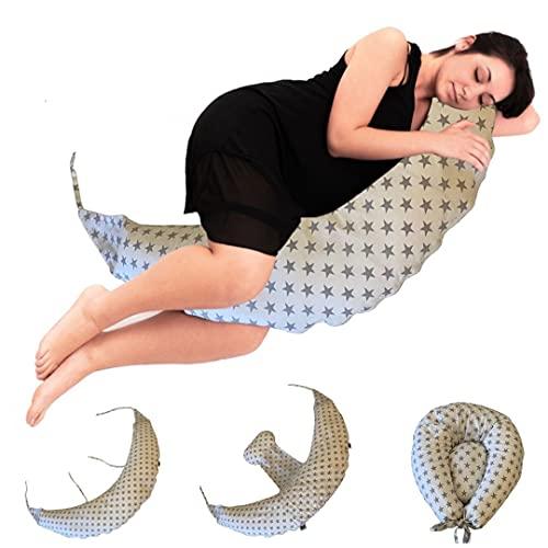 BabyCANGAROO® Cuscino Gravidanza per Dormire e Allattamento Sfoderabile, Supporto Lombare Cervicale e Pancia, Made in ITALY, Oeko-Tex (Bianco stelle, grigio)
