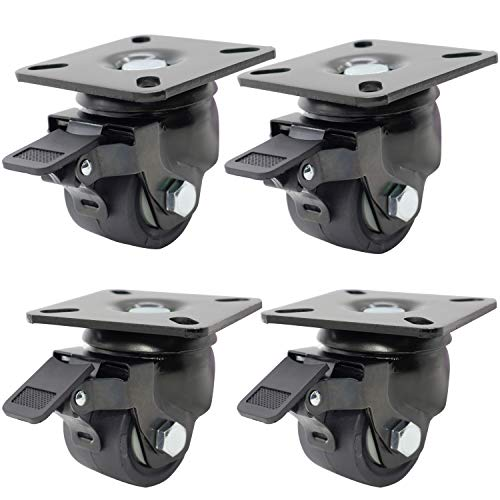 Dr.Luck 2 Inch Black Top Plate Swivel with B2 Hi-Temp Nylon Brake & 38mm Width Hi-Temp Nylon Wheel Low Center of Gravity Heavy Duty Caster Double Ball Bearing Total Load Capacity 2650 Lbs Pack of 4