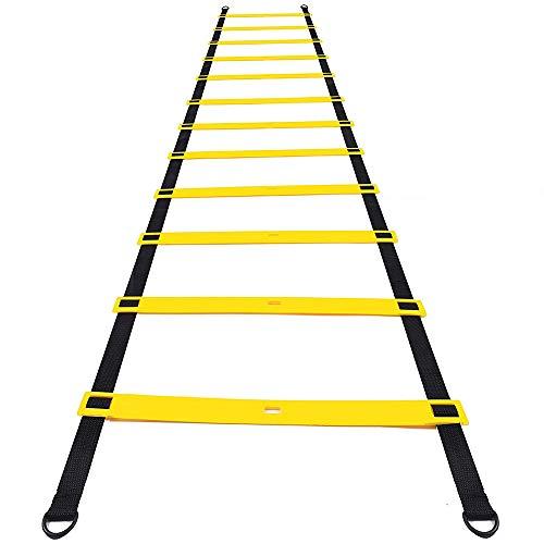 Amasawa 6m 12 Tableros Escalera de Agilidad con Bolsa para Entrenamiento Funcional El Fútbol El Baloncesto El Tenis Espera (Negro)