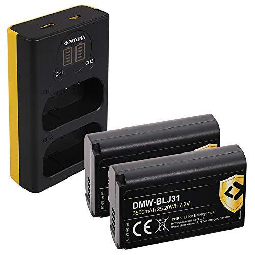 PATONA Cargador Doble LCD USB con Protect Bateria DMW-BLJ31, NTC, Carcasa V1 Compatible con Panasonic Lumix DC-S1, DC-S1R, DC-S1H
