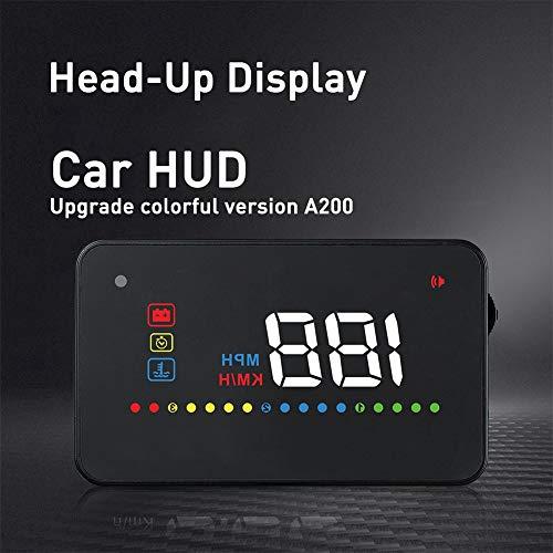 Gorgeri A200 HUD Universal 3,5-Zoll-Satz von ODB2 Auto Head-Up-Display Tachometer Windschutzscheibe Projektionsgeschwindigkeit Kraftstoffverbrauchsanzeige Fahralarm Fahrleistung