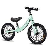 Bicicleta Balance Sin Pedales, Bici con Ruedas De 14' para Niños De 3-7 Años, Balance Bici con Sillín Ajustable, Neumáticos Inflables para Aprendizaje De Equilibrio (Máximo 70 Kg),Verde