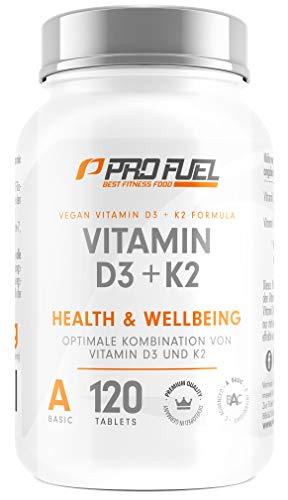 VITAMIN D3 VEGAN • 5000 I.E. + K2 (MK7) • 200 mcg | 120 Tabletten | 19 Monatspackung | Pflanzlich & 100% vegan | Made in Germany
