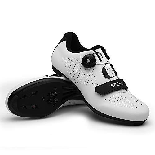 tangjiu Zapatos De Bloqueo De Bicicleta De Carretera Unisex, Bicicleta De Montaña con Taco Exterior Bicicleta Transpirable Zapatos Giratorios, Adecuados para Senderismo Y Ciclismo (Blanco,43)