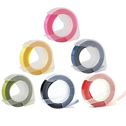 Kaimeilai Cinta de repujado compatible como repuesto para Dymo, cinta de repujado de plástico 3D, etiquetas adhesivas de vinilo, para impresoras Dymo Omega Junior y Motex, 9 mm x 3 m