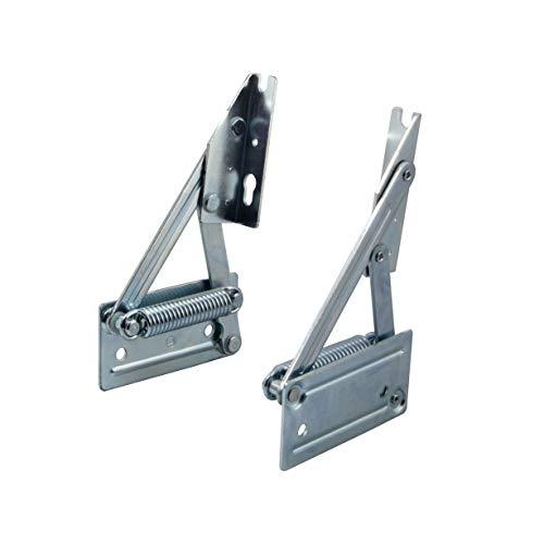 Gedotec Eckbankscharnier Klappkonsole Klappenträger für Sitzplatten aus Holz | Truhenbank-Beschlag mit Feder | Plattengewicht bis 8 kg | Stahl verzinkt | 1 Paar Truhen-Beschläge (Links + Rechts)