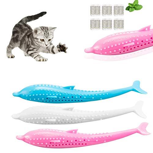 Mmester Katt tandborste fisk, 3 st katttandborste leksak+6 x kattmynta, katttandborste med kattmynta, silikon fiskleksaker husdjur molar pinne katttänder rengöringsborste, interaktiv tuggleksak för katt kattunge.