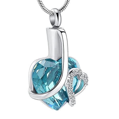 TIANZXS Siempre en mi corazón Joyería de cremación para Cenizas Incrustaciones de Cristal Piedra de Nacimiento Recuerdo de Acero Inoxidable Collar de urna Conmemorativa Azul Claro