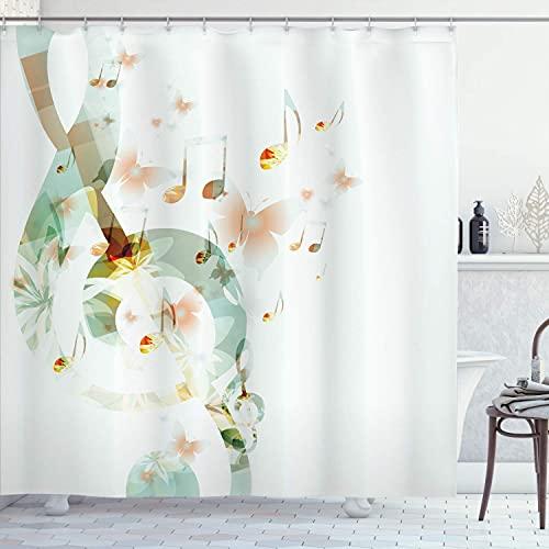 N \ A Musik-Duschvorhang, Musik mit G-Notenschlüssel Instrument, einfarbig, kreatives rhythmisches Ornament, Stoffstoff, Badezimmer-Dekor-Set mit Haken, 183 cm lang, Weiß / Grau