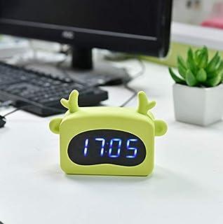 Renfengchui Barn student LED-klocka söt tecknad kanin digital skrivbord kanin öron väckarklocka studenter gåva barn tyst B