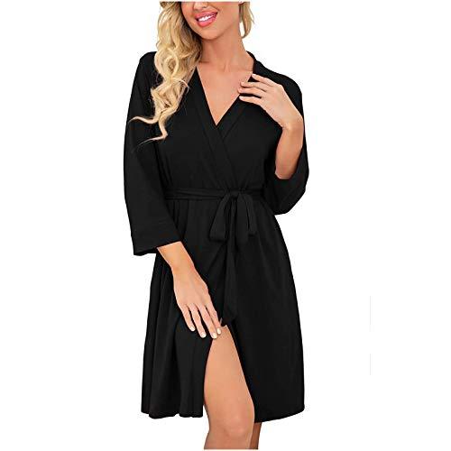 YANFANG Ropa de Dormir para Mujer, camisón de Manga Corta, camisón Suave, camisón Plisado,Vestido de Pijamas,Ropa de casa